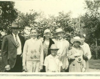 1931 Happy Family Wearing Hats Kids Grandmother 1930s Vintage Black and White Photo Photograph