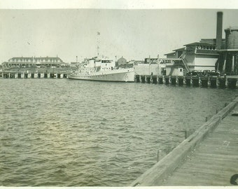 Boat Ship At Dock in Harbor 1920s 30s Summer Vacation Vintage Photo Black and White Photograph