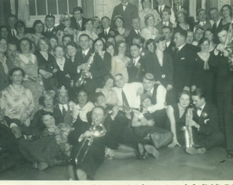 German Jazz Band Having Fun With Fans Trumpet Sax Violin Group Photo Orchestra  Vintage Black White Photo Photograph