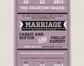 Poster - Unique graphic poster-style wedding invitation on pearl linen paper