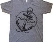 Unknown Artist Anchor Logo T-Shirt American Apparel Tri-Blend Athletic Grey    L  or XL