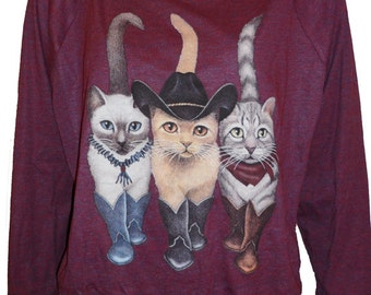 """Cowboy Cats in Boots Pullover Slouchy """"Sweatshirt""""  Top American Apparel Cranberry   S    M   or   L"""