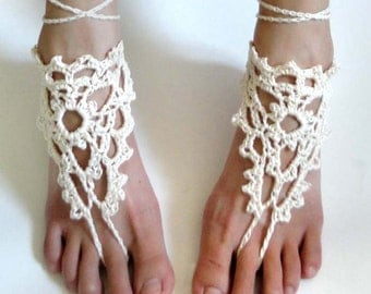 Lacy Triangle Barefoot Sandals - PDF Crochet Pattern - Instant Download