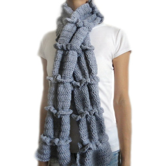ruched ruffle scarf pdf crochet pattern instant