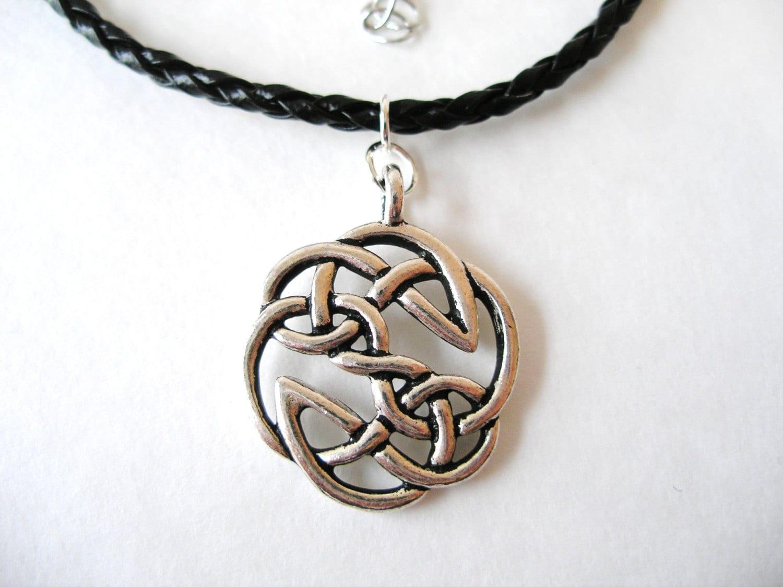 mens warrior antique silver celtic knot pendant necklace
