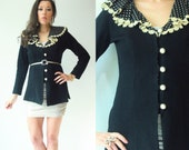 80's Vintage Black Ruffle Polka Dot Collar Cardigan Sweater Jacket