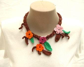 PDF  Crochet Pattern, Unique Piece Necklace, Flowers Necklace, Necklace Pattern, Tutorial Crochet