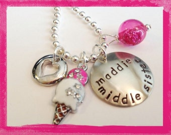 Personalized Necklace - Hand Stamped MIDDLE SISTER  Necklace for Children #Sis84
