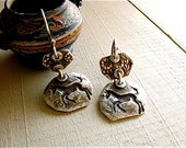 untamed pony earrings : horse, equestrian, rustic jewelry . hand crafted silver
