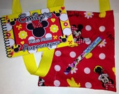 Personalized  Disney Autograph Book  Minnie Mouse with Matching Bag and Pen Your Choice of Red Book or Yellow Book