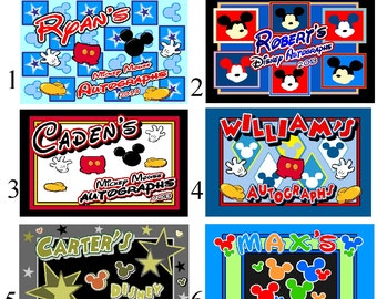 Personalized Disney Autograph Book MICKEY MOUSE  - Choice of 6 books - check it out!