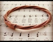 Recycled PIANO String Bracelet copper colored mens or womens One of a kind Gift