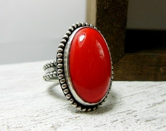 Red Coral Ring- Coral Statement Gemstone Ring- Sterling Silver- Western Jewelry