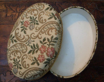 Tapestry Jewelry Box, Vintage 50s, Gold Pink Blue Green Cream, Floral, Shabby Chic, Mid Century Ladies Bedroom,Trinket Holder, Free Shipping