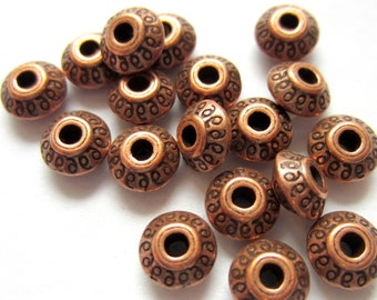 30 Beads copper spacers jewelry making supply 7mm x 7mm  P062(-W2),