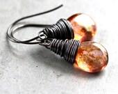 Copper Rose Gold Earrings, Peach Pink Teardrop Antiqued Brass Wire Wrapped Drop Earrings - Terra Cotta