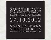 classic square justified save the date or engagement announcement - printable file - traditional