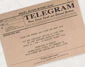 printable wedding invitation digital file antique rustic wedding invitation 1920s 1930s milestone birthday  - vintage telegram invitation