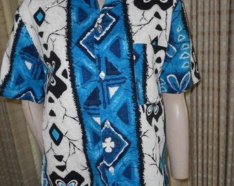 Awesome 1950's-60's Tropical Print Men's Cotton Shirt - Size M