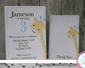 Sweet Giraffe Birthday Invitation (blue), DIY, Printable