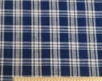 Blue & Beige Plaid Homespun Fabric (261E)