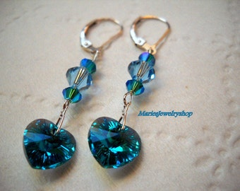 Beautiful Blue Zircon AB Swarovki Crystal Heart Drop Earrings,Sterling Silver,December Birthstone,Wedding,Bridal Gifts,Free USA Shipping