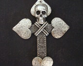 Custom Necklace Or Pendant, Heart Cross and Skull Necklace Pendant, Gothic, Great Detailing of Silver Ox Metal