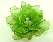 6 pieces green organza  flowers with pearls