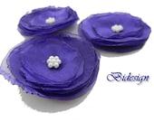 12 pieces purple  organza flowers -- poppy flowers