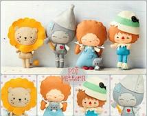 PDF. The wizard of Oz pattern. Fairy tale pattern. Plush Doll Pattern, Softie Pattern, Soft felt Toy Pattern.