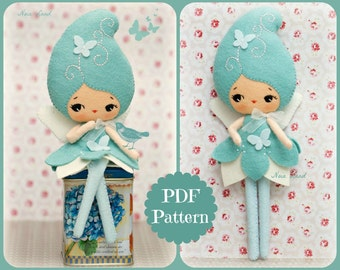 PDF. Blue fairy doll. Plush Doll Pattern, Softie Pattern, Soft felt Toy Pattern.