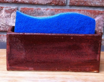 Handmade Extra Large Oak Mountain Speckled Plum Ceramic Sponge and SOS Pad Holder