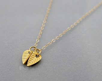 Gold leaf necklace, two dainty small leaves, little charm pendant, 14k gold filled chain, minimalist tiny, delicate everyday jewelry