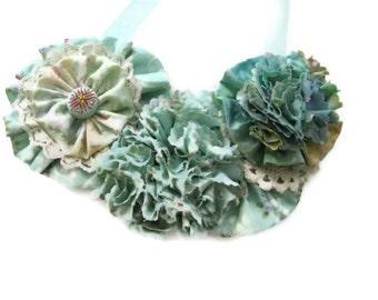 Bib Statement Necklace Mint Green  Beige Floral Fabric