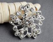5 Large Rhinestone Button Embellishment Pearl Crystal Wedding Brooch Bouquet Invitation Cake Decoration Hair Comb Clip BT390