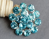5 Teal Blue Aqua Blue Rhinestone Button Crystal Embellishment Wedding Brooch Bouquet Cake Hair Comb Shoe Clip DIY Supply BT546