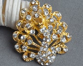 5 Rhinestone Button Embellishment Gold Peacock Crystal Wedding Brooch Bouquet Invitation Cake Hair Comb Shoe Clip BT536