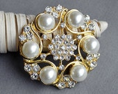 SALE Rhinestone Brooch Embellishment Crystal Pearl Gold Wedding Brooch Bouquet Cake Decoration Hair Comb Shoe Clip BR242