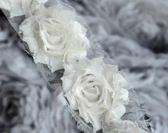 5 Yard Shabby Rose Trim 70 Shabby Flowers Shabby Frayed Chiffon Flowers Ivory Wedding Bridal Hair Accessory Headband LA068
