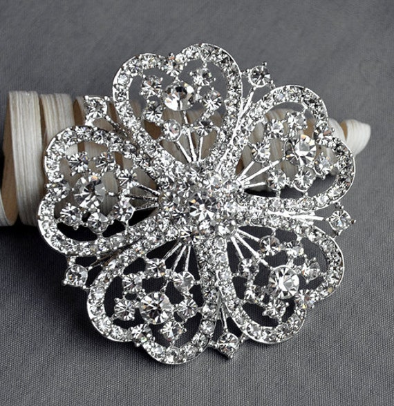 Rhinestone Brooch Component Crystal Flower Embellishment Wedding Brooch Bouquet Cake Hair Comb Shoe Clip Supply BR016