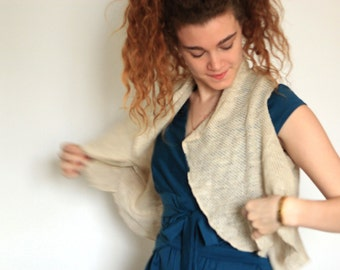 Sale Women Knitted Beige Bolero Shrug Sleevless Boho Wool Handmade  Brooch