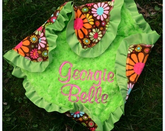Flower Child Minky Blanket - Lime Minky Swirl with Satin Ruffle - Personalized - Baby Girl - Multiple Sizes Available