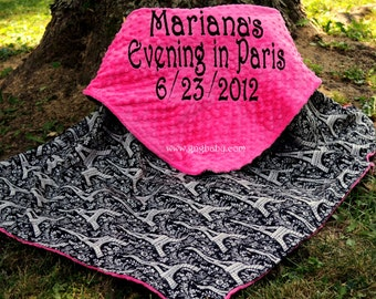 Baby Girl Blanket- Eiffel Tower Black and White - Hot Pink Minky- Personalized -  Multiple Sizes