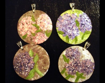 one hand painted hydrangea pendant