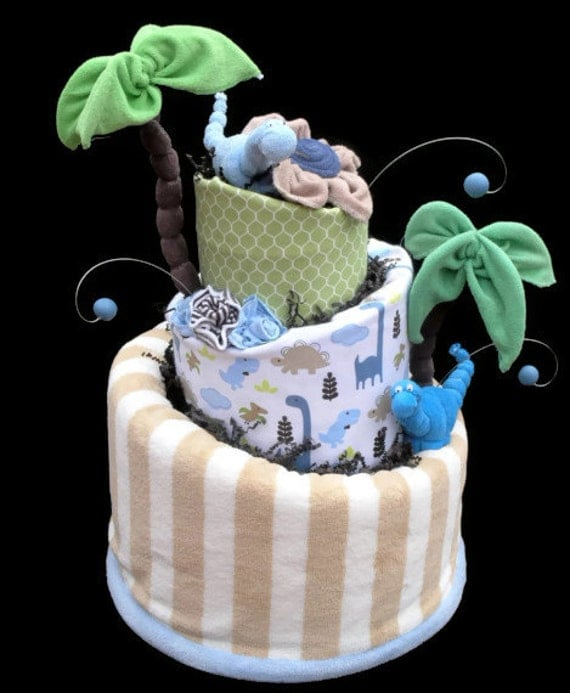 Items similar to dinosaur diaper cake baby shower gift for Baby shower decoration diaper cake