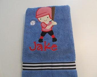 Boys Blue Bath, Beach or Pool Towel with Little Slugger Applique with Monogram