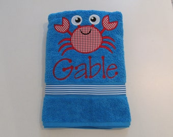 Boys, Girls, Bath, Beach or Pool Towel, Teal Terry Cloth Towel 54 x 30 , Cute Crab Applique with Monogram , Teal and White Stripe Ribbon