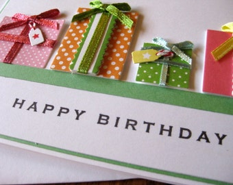 HAPPY BIRTHDAY with row of presents - handmade greeting card