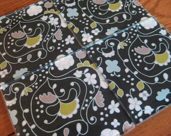 Black, Aqua, Green and White Floral - Square Acrylic Coasters - Set of 4