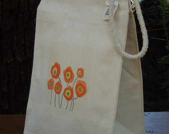 Recycled cotton lunch bag  - Canvas lunch bag - Small project bag - Picnic lunch bag - Ecofriendly lunch bag - Posing poppies